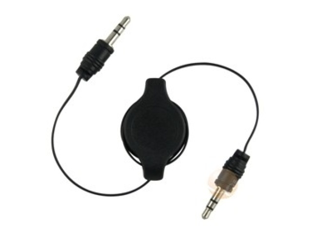 3.5MM STEREO PLUG TO 3.5MM STEREO PLUG, RETRACTABLE CABLE, 1M.BLACK