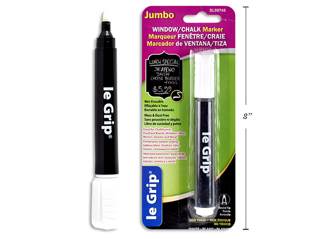 JUMBO WINDOW/CHALK MARKER WHITE 13.6X1.7CM BULLET POINT