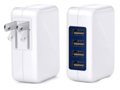 4 Port USB Wall Charger - ETL Certified - 3A Fast Charger w/Smart Chip assorted colours